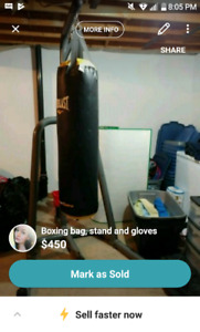 Boxing bag, stand and gloves