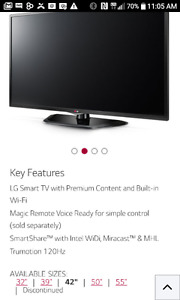 """42"""" smart tv with wall mount"""