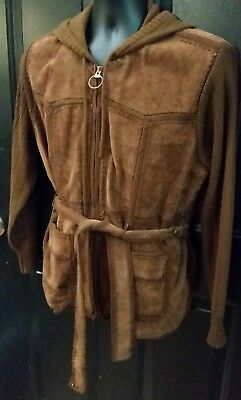 Vintage Boho Leather Sweater Jacket Brown Hooded Belted Fingerhut Womens Large