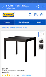 IKEA bar height table with 4 chairs