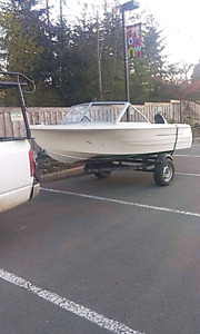 14ft Boat, trailer and 25 hp Mercury