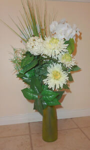 White flowers with greens in green glas vase Kitchener / Waterloo Kitchener Area image 1