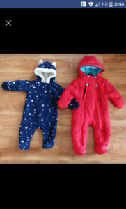 Baby snowsuit and fleece suit size 3-6 months old