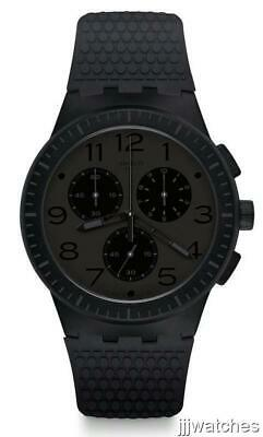 New Swatch Piege Chronogragh Black Silicone Date Watch 42mm SUSB104 $120
