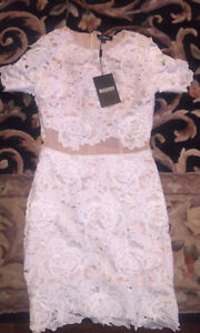 White Lacey/floral mini dress with nude panelling