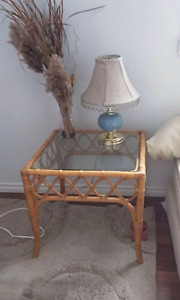 Cane & glass end table