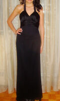Size X-Small / Small Black Halter Maxi Cocktail Party Dress