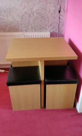 Oak Table with 4 storage stools