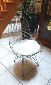 Chrome + White Leather Eiffel Wire Chairs x2 (Price for Both)