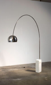 Modern arch floor lamp with wood base ( not white) stainless sha