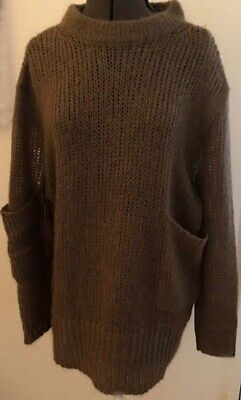 Acne Studios Oversize Sweater Taupe Mohair Blend Crew Neck Pockets Size XS