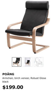Poang armchair & ottoman, leather, 2pc
