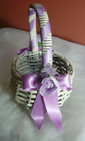 Lilac Purple & Off White Flower Girl Wedding Basket.
