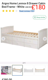 Lennox 6 drawer cabin bed £180. RBW Clearance Outlet Leicester City Ce