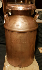 antique solid copper milk can with lid, DUNNVILLE DAIRY