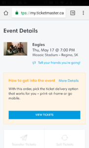Two Eagles tickets for sale