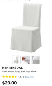 Brand New IKEA Henriksdal Long White Dining Chair covers