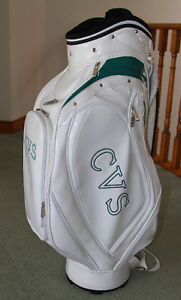 Virtually New Glossy White with Green Trim Golf Cart Bag