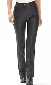 f53d0bb5 New Marisota Black Faux Leather Petite Jeans Size 20 UK Length 25