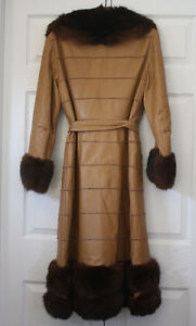 Women's Full Length Leather and Beaver Fur Coat Size Large London Ontario image 3