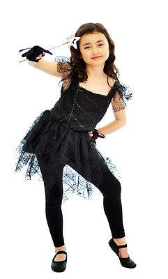 Childs Kids Dark Fairy Ballerina Halloween Fancy Dress Costume Outfit Age 4 - 12](Dark Ballerina Costumes)