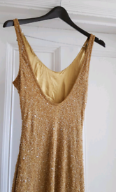 AFTERSHOCK LONDON GOLD BEADED MAXI DRESS 'M'