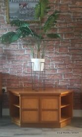 Very Good Condition Vintage Mid Century Modern Style Nathan Teak Corner TV Stand