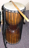 Wooden Hour glass Drum with stick, 15 inches
