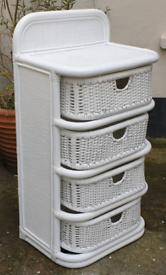 White rattan drawer tower