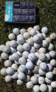90 used golf balls AND one dozen new golf balls.
