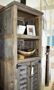 RUSTIC DISPLAY CABINET, TALL, HANDCRAFTED FROM WEATHERED WOOD