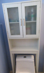 """OVER THE TOILET WHITE CUPBOARD/SPACE SAVER, WHITE 66"""" HIGH"""