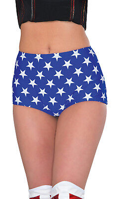 Rubie's Women's DC Comics Wonder Woman Blue with White Stars Print Boy Shorts