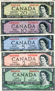 Set of 1954 Canadian Bills