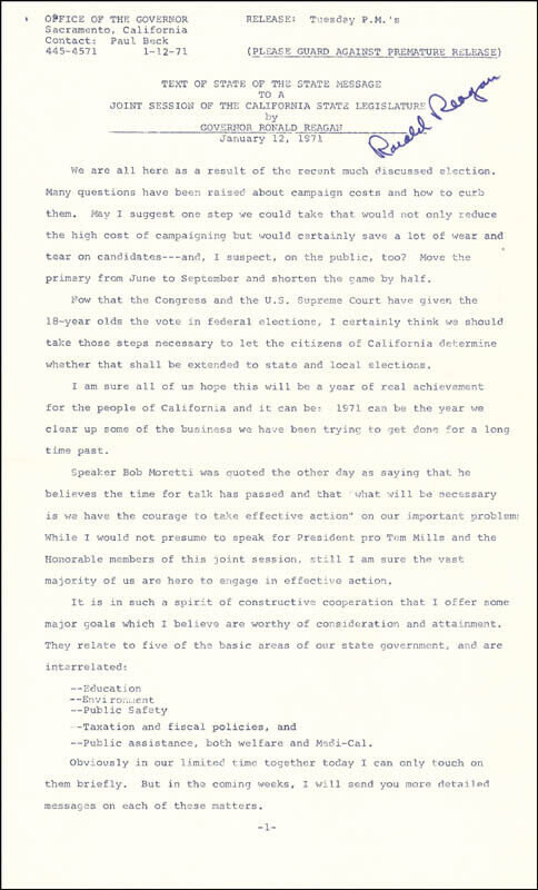 RONALD REAGAN - SPEECH SIGNED CIRCA 1971