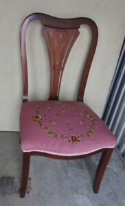 Elegant antique chair, inlays, needle point fabric, refurbished