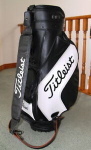 Awesome & Mint Titleist Black Leather Golf Cart with White Logo