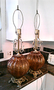 Vintage mid century amber crackle lamps