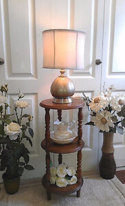 """Classy!Refinished Glass Table Lamp, H 17"""" (TEXT is best)"""