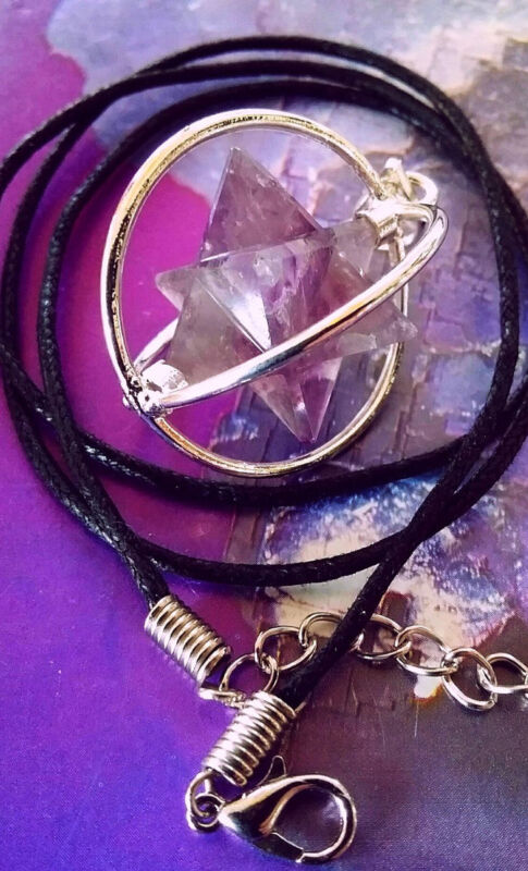 SACRED GEOMETRY SPINNING AMETHYST CRYSTAL MERKABA STAR CAGE PENDANT WITH CHAIN
