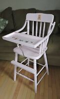 High Chair Old Solid Wood Light Pink
