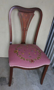 An elegant antique chair with inlay and needle point seat (deliv