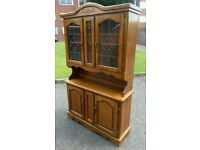 Beautiful solid wood oak wall unit display cabinet dresser - can deliver