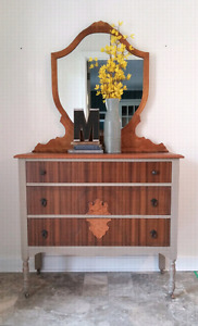 Refinished dresser with mirror
