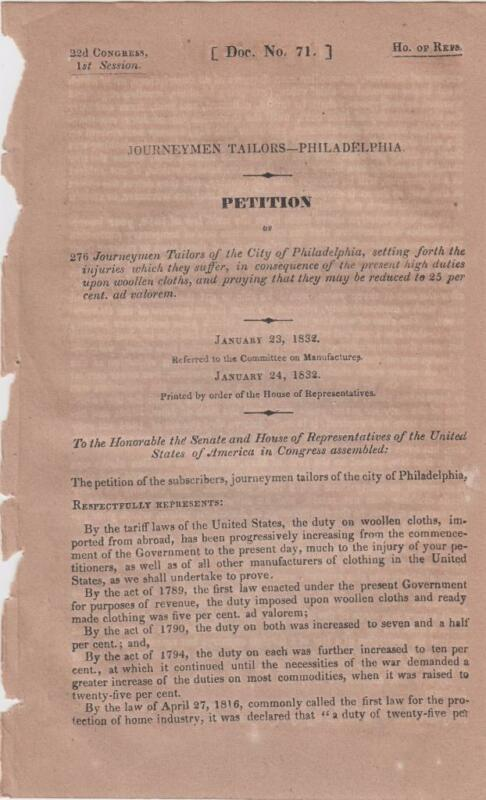 Petition of the Journeymen Tailors of Philadelphia tax on woolen clothes 1832