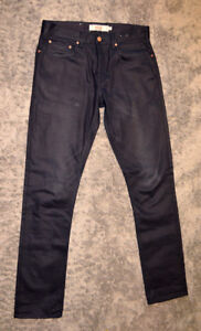 Like New Top Man Waxed Midnight Navy Blue Jeans Size Small Mens