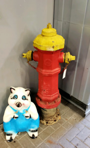 Antique fire hydrant red and yellow  (REDUCED)