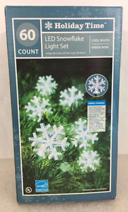 Holiday Time 60 LED Cool White Snowflake Light Set - NEW in Box