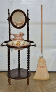 Vintage Solid Wood Wash Stand with Jug and Basin