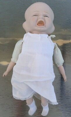 "Weird Spooky Scary 3 Faced Baby Doll Porcelain 12"" Original Gown Slip Bonnet"